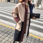 Hooded Color Block Buttoned Coat