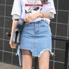 Mesh Denim Skirt