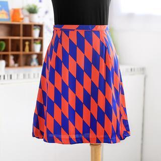 Argyle Print A-line Skirt Blue And Red - One Size