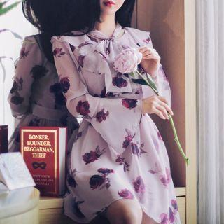 Bell-sleeve Tie-neck Floral Print A-line Dress