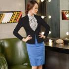 Set: Jacket + Dotted Shirt + Pencil Skirt