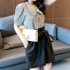Puff-sleeve Plaid Blouse / High-waist Wide-leg Shorts / Set