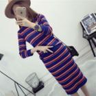 Set: Striped Sweater + Striped Knit Skirt