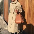 Hidden-button Flap-back Trench Coat With Sash