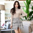 Slit-front Buttoned Plaid A-line Skirt