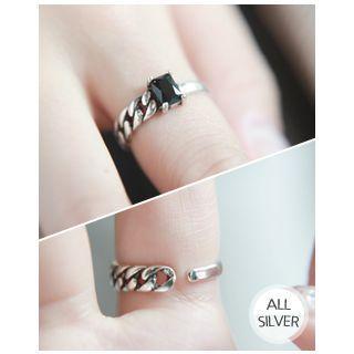 Rhinestone Chain Silver Open Ring