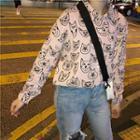 Long Sleeve Cat Print Shirt