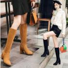 Faux Suede Lined Block Heel Tall Boots