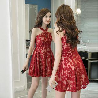 Lace Halter Sleeveless A-line Dress