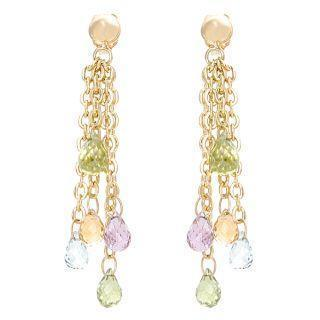 18k Yellow Gold Dangling Colorstones Earrings