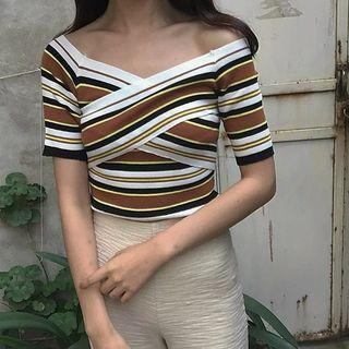 Short-sleeve Striped Cropped Knit Top
