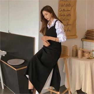 Slit-side Long Pinafore Dress