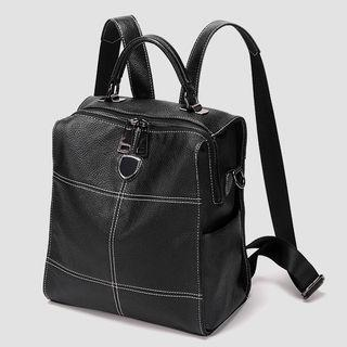 Genuine Leather Flap Backpack Black - One Size