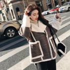 Fleece-panel Check Zip Jacket