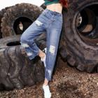 Washed Distressed Cropped Wide-leg Jeans