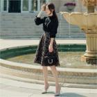 Crinkled Patterned Flare Skirt