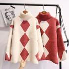 Diamond Pattern Turtleneck Sweater