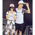 Set: Couple T-shirt + Printed Skirt / Printed-panel T-shirt