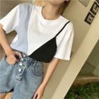 Short-sleeve Contrast Panel T-shirt / Wide-leg Denim Shorts