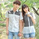 Couple Matching Panel Short-sleeve Shirt