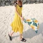 Tie-shoulder Sleeveless Dress Yellow - One Size