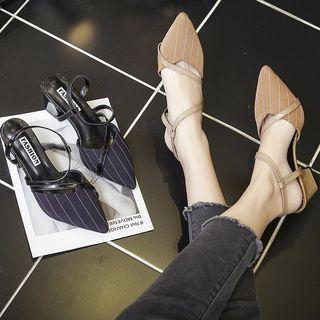 Kitten-heel Striped Sandals
