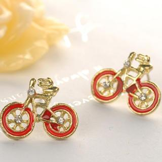 Bicycle Earrings  Red - One Size