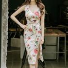 Sleeveless Floral Shirred Sheath Dress