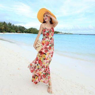 Floral Print Strappy Maxi Dress