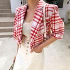 Short-sleeve Cropped Plaid Blazer