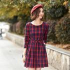 Long-sleeve Belted Plaid Dress