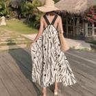 Sleeveless Patterned Asymmetric Tunic Dress