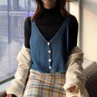 V-neck Knit Vest Knit Vest - Blue - One Size