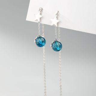 925 Sterling Silver Bead & Star Dangle Earring As Shown In Figure - One Size