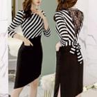 Mesh Panel Stripe Long-sleeve Dress