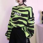 Long Sleeve Zebra Printed Pullover