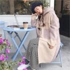 Hooded Fuax-shearling Coat