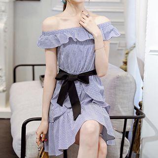 Frill Trim Striped Off Shoulder Short Sleeve Dress