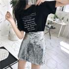 Set : Letter Short-sleeve T-shirt + Sequined Mini Skirt