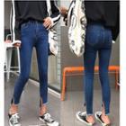 Side Slit Cropped Skinny Jeans