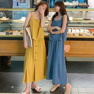 Set: Sleeveless Top + A-line Midi Buttoned Skirt