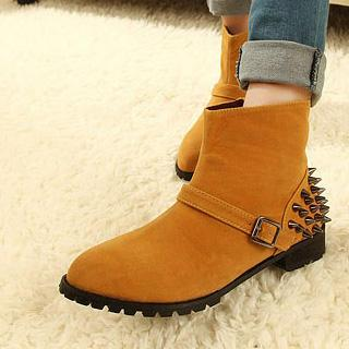 Studded Buckled Short Boots