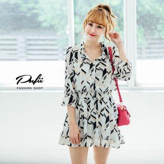 Elbow-sleeve Patterned Chiffon Dress