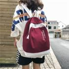 Printed Contrast Trim Canvas Backpack