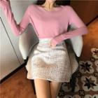 Tweed Mini A-line Skirt