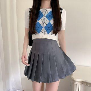 Argyle Short-sleeve Cropped Knit Top / Pleated Skirt