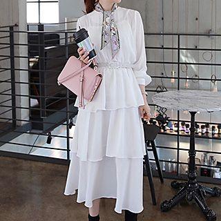 Tiered Long-sleeve Chiffon Dress