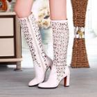 Block Heel Perforated Tall Boots