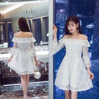Lace Off Shoulder 3/4 Sleeve Dress