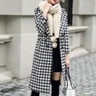 Double-buttoned Houndstooth Woolen Coat